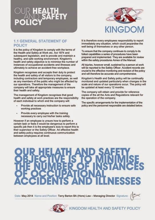 Kingdom Health & Safety Policy 2014